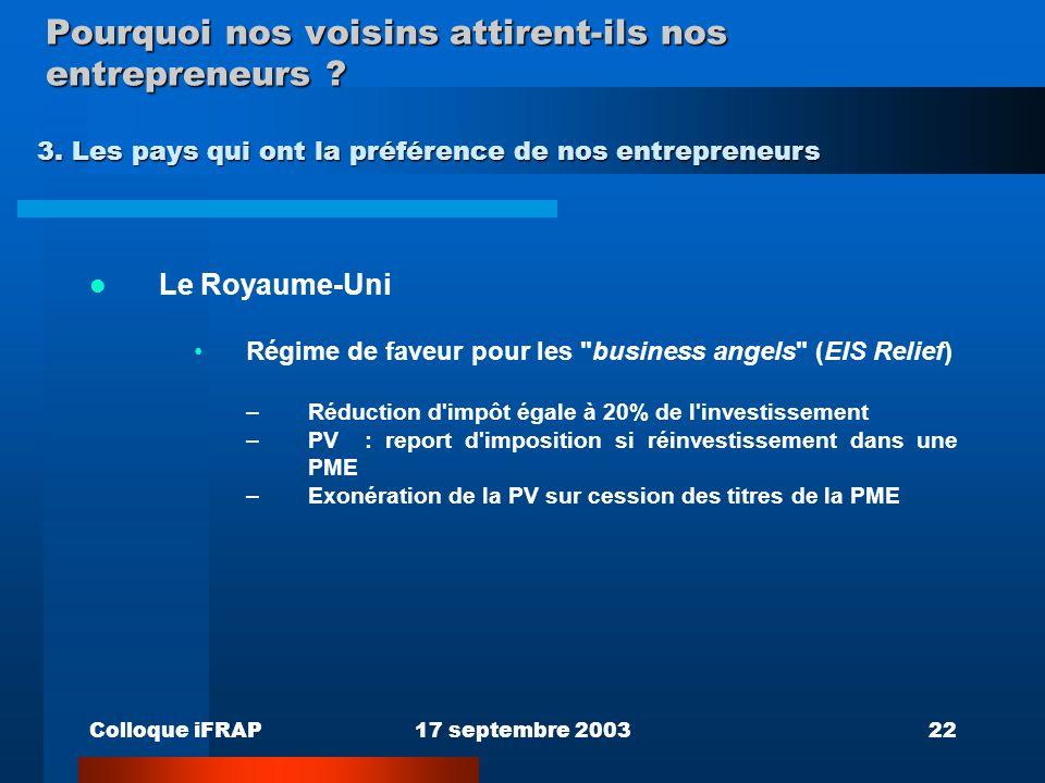 Colloque iFRAP17 septembre 200322 Pourquoi nos voisins attirent-ils nos entrepreneurs ? Le Royaume-Uni Régime de faveur pour les