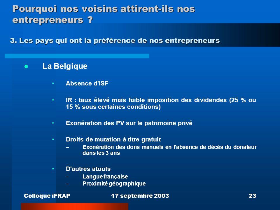 Colloque iFRAP17 septembre 200323 Pourquoi nos voisins attirent-ils nos entrepreneurs ? La Belgique Absence d'ISF IR : taux élevé mais faible impositi
