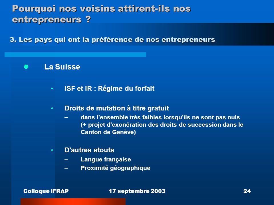 Colloque iFRAP17 septembre 200324 Pourquoi nos voisins attirent-ils nos entrepreneurs ? La Suisse ISF et IR : Régime du forfait Droits de mutation à t