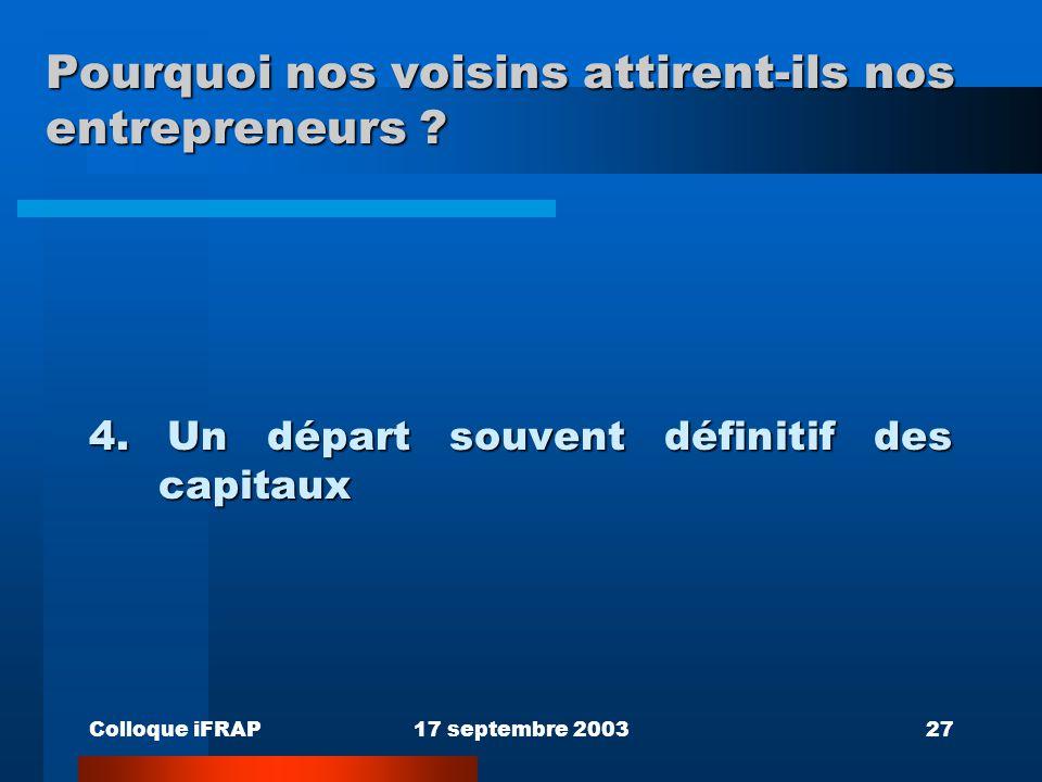 Colloque iFRAP17 septembre 200327 Pourquoi nos voisins attirent-ils nos entrepreneurs ? 4. Un départ souvent définitif des capitaux