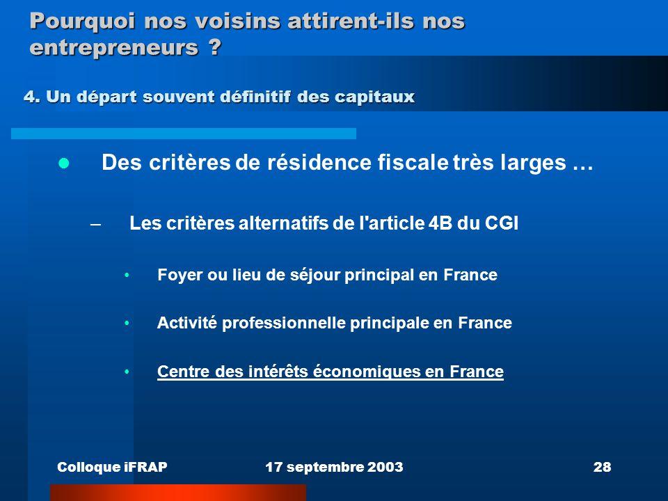 Colloque iFRAP17 septembre 200328 Pourquoi nos voisins attirent-ils nos entrepreneurs ? Des critères de résidence fiscale très larges … –Les critères