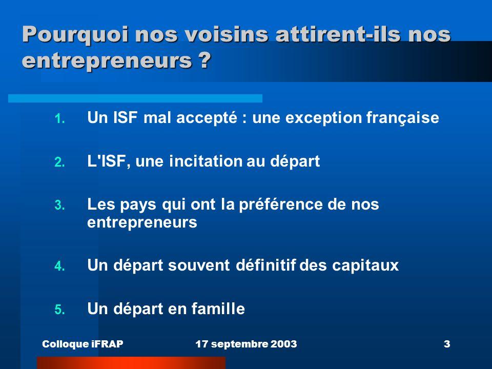 Colloque iFRAP17 septembre 20033 Pourquoi nos voisins attirent-ils nos entrepreneurs ? 1. Un ISF mal accepté : une exception française 2. L'ISF, une i