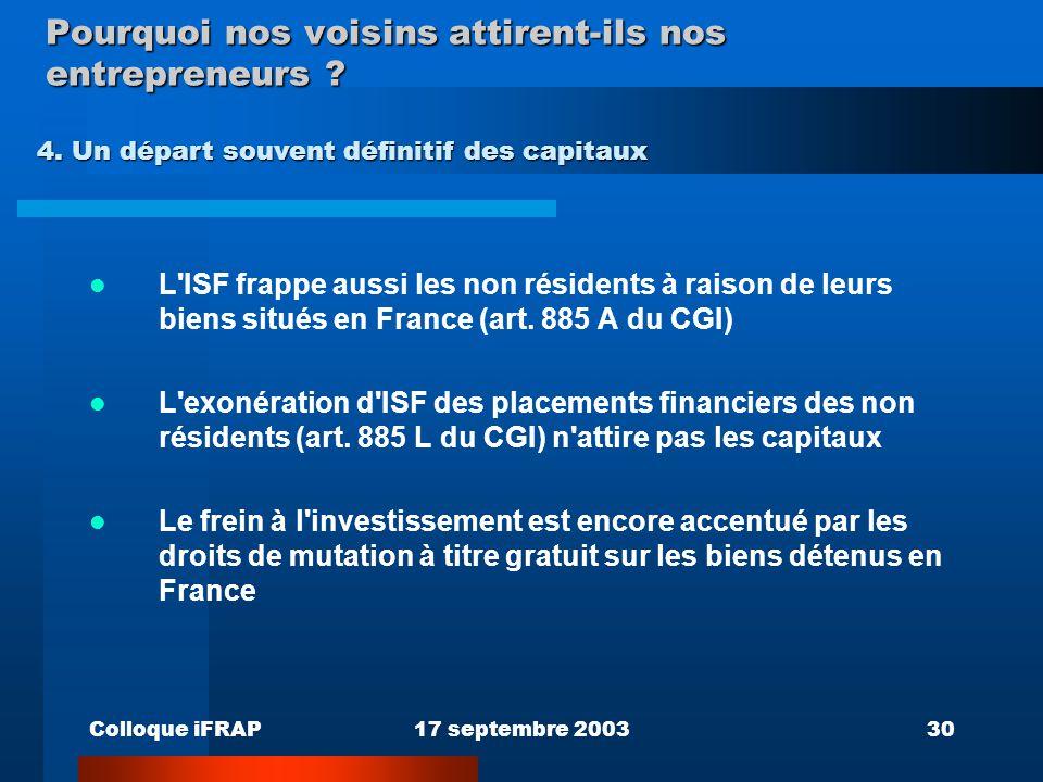 Colloque iFRAP17 septembre 200330 Pourquoi nos voisins attirent-ils nos entrepreneurs ? L'ISF frappe aussi les non résidents à raison de leurs biens s