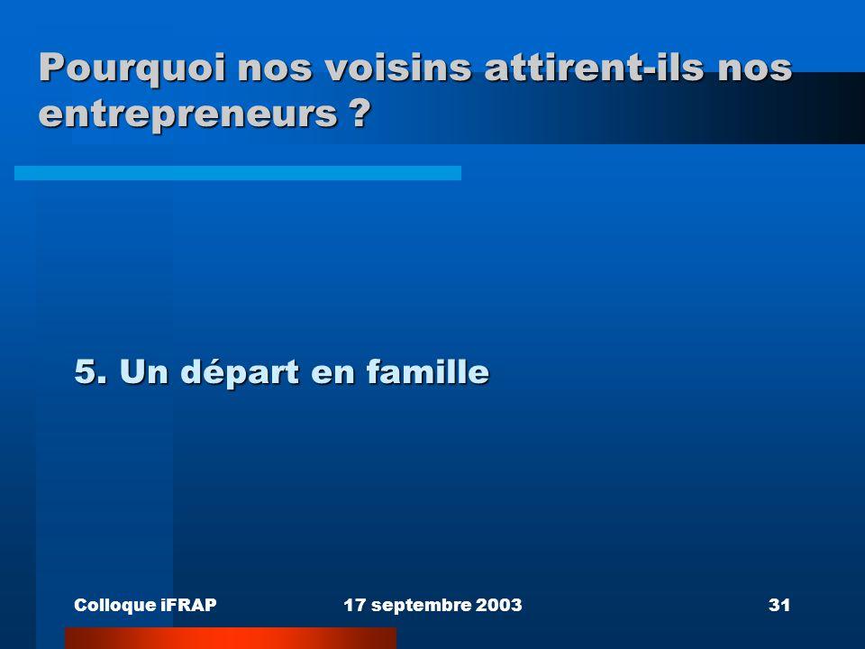Colloque iFRAP17 septembre 200331 Pourquoi nos voisins attirent-ils nos entrepreneurs ? 5. Un départ en famille