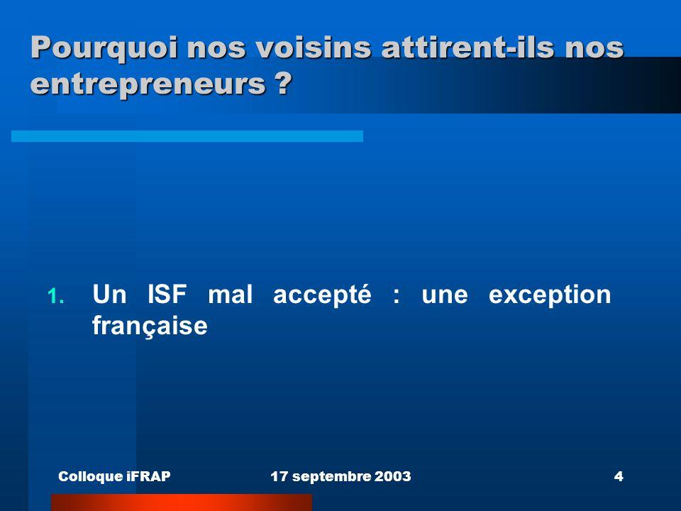 Colloque iFRAP17 septembre 20034 Pourquoi nos voisins attirent-ils nos entrepreneurs ? 1. Un ISF mal accepté : une exception française