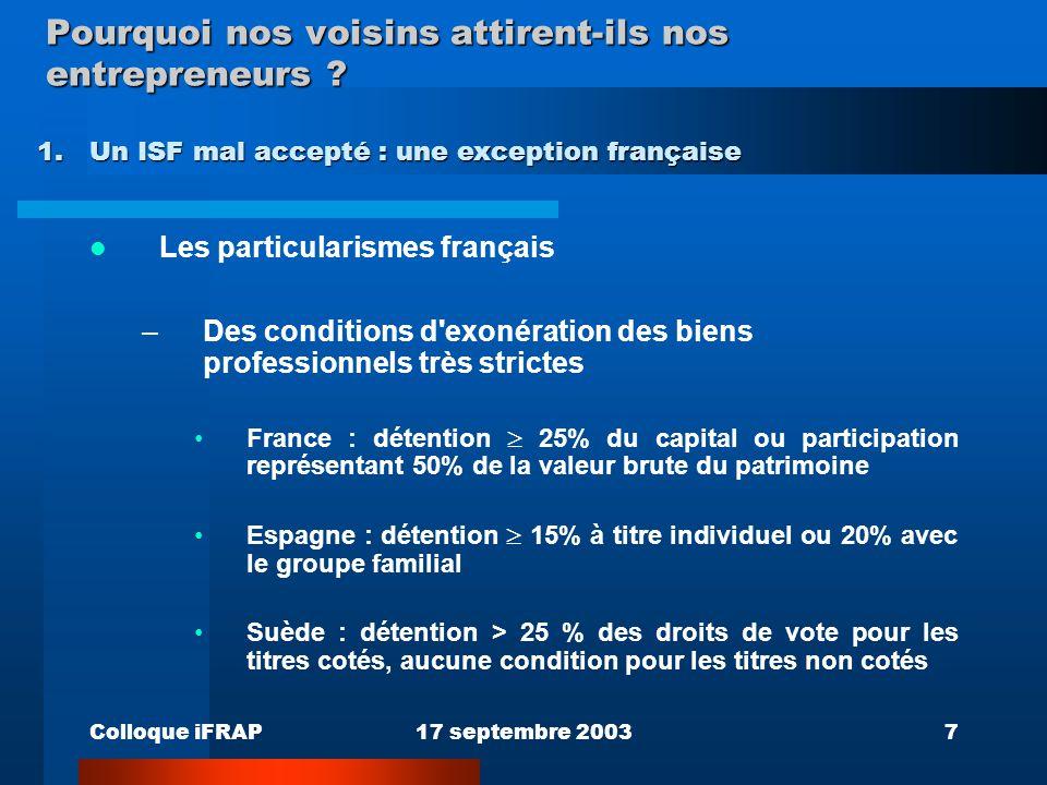 Colloque iFRAP17 septembre 20037 Pourquoi nos voisins attirent-ils nos entrepreneurs ? Les particularismes français –Des conditions d'exonération des