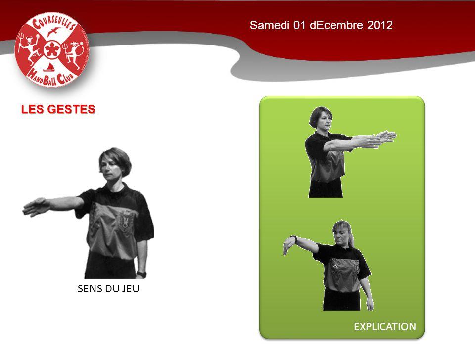 EXPLICATION Samedi 01 dEcembre 2012 SENS DU JEU LES GESTES