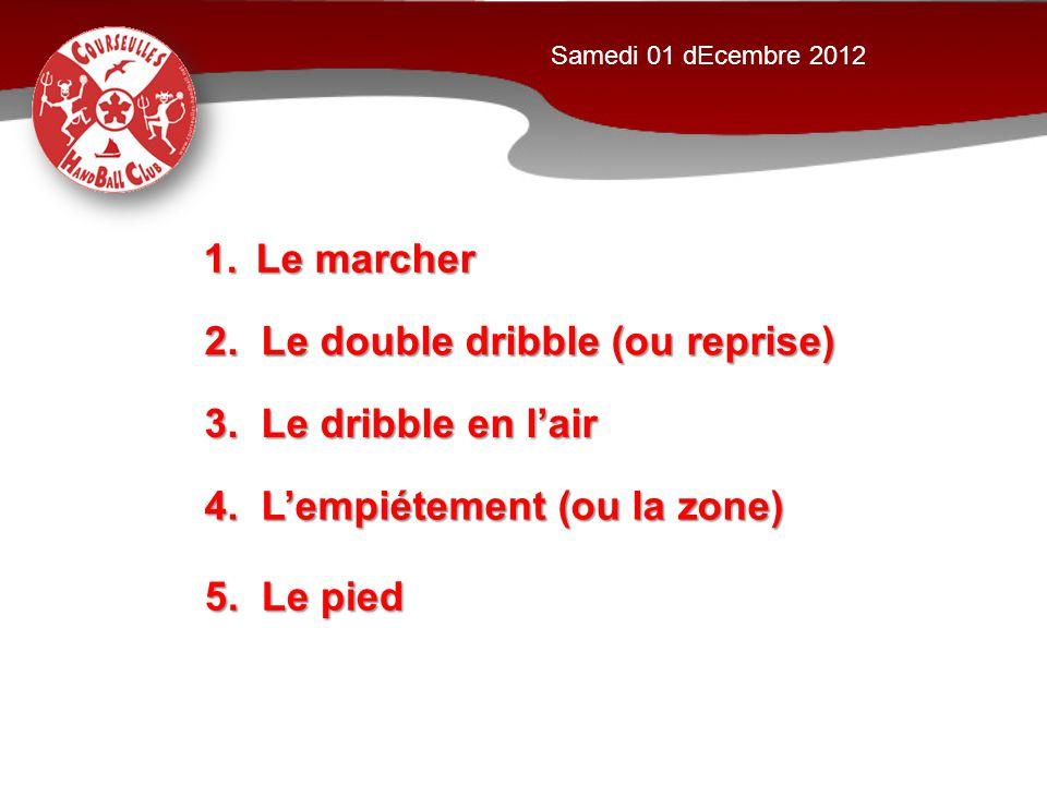 1.Le marcher 2. Le double dribble (ou reprise) 5. Le pied 4. L'empiétement (ou la zone) 3. Le dribble en l'air Samedi 01 dEcembre 2012