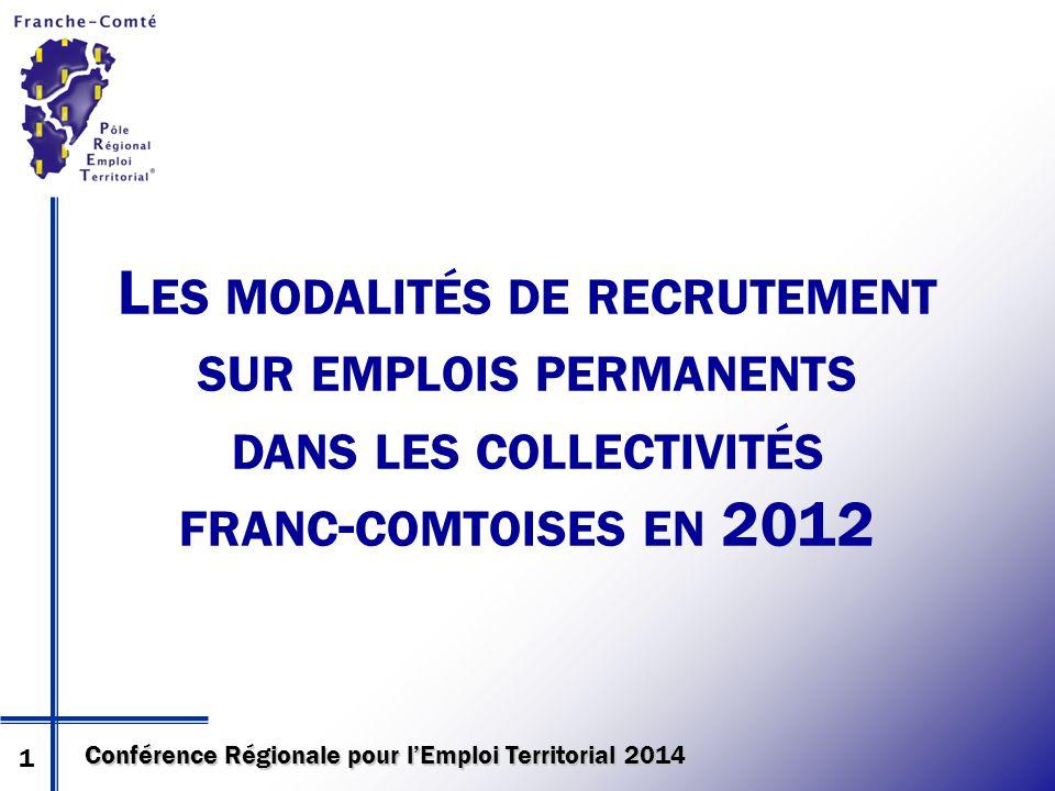 Conférence Régionale pour l'Emploi Territorial 2014 L ES MODALITÉS DE RECRUTEMENT SUR EMPLOIS PERMANENTS DANS LES COLLECTIVITÉS FRANC - COMTOISES EN 2012 1