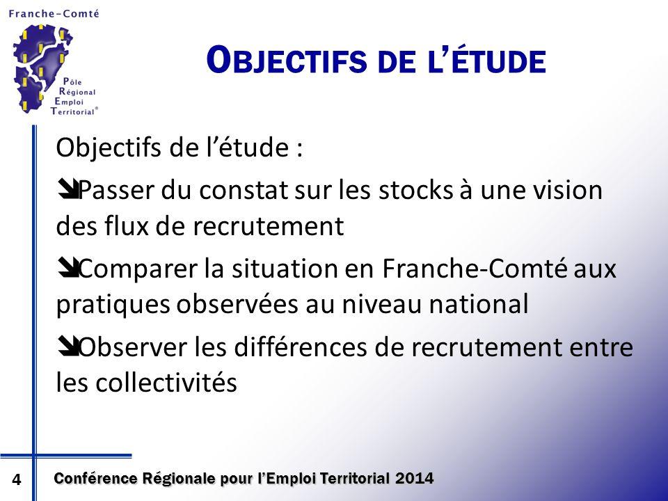 Conférence Régionale pour l'Emploi Territorial 2014 Objectifs de l'étude :  Passer du constat sur les stocks à une vision des flux de recrutement  C