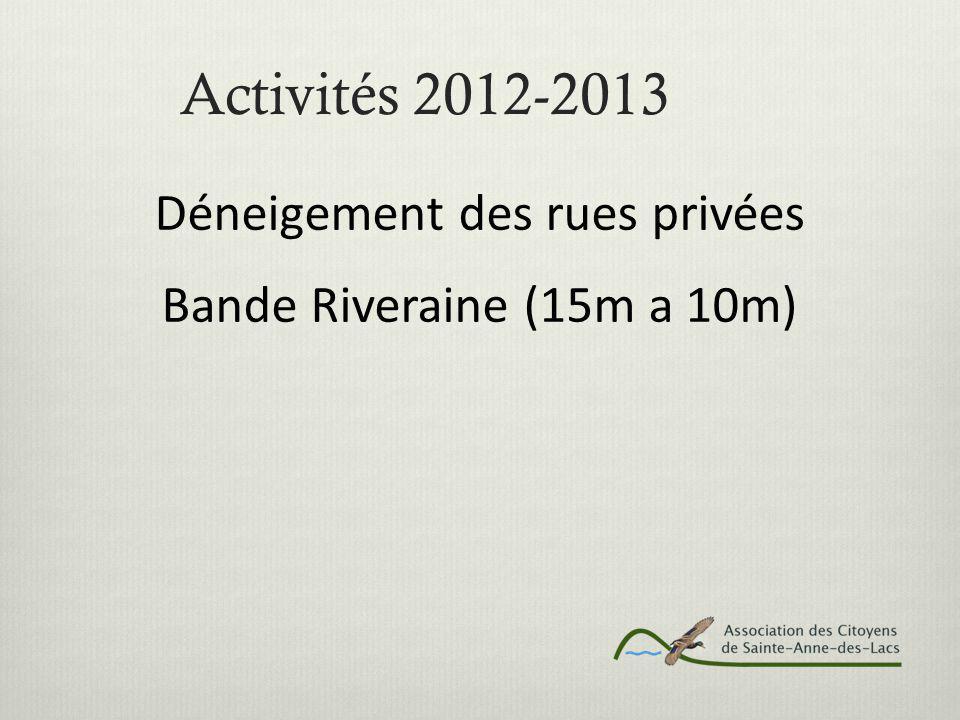 Activités 2012-2013 Déneigement des rues privées Bande Riveraine (15m a 10m)