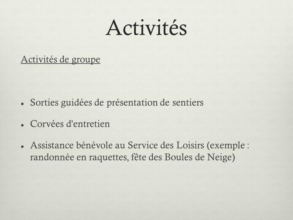 Activités Activités de groupe Sorties guidées de présentation de sentiers Corvées d entretien Assistance bénévole au Service des Loisirs (exemple : randonnée en raquettes, fête des Boules de Neige)