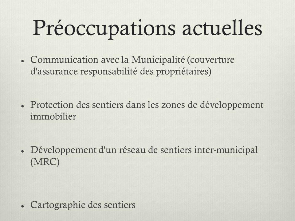 Préoccupations actuelles Communication avec la Municipalité (couverture d assurance responsabilité des propriétaires) Protection des sentiers dans les zones de développement immobilier Développement d un réseau de sentiers inter-municipal (MRC) Cartographie des sentiers