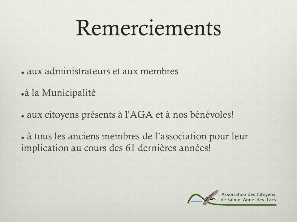 Remerciements aux administrateurs et aux membres à la Municipalité aux citoyens présents à l AGA et à nos bénévoles.