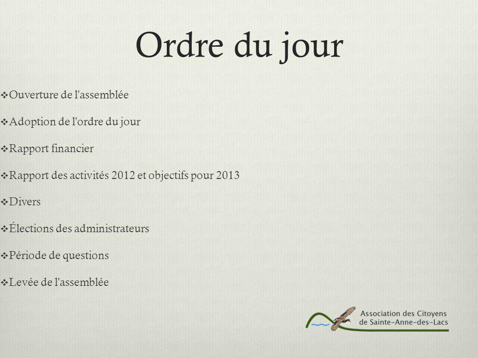 Ordre du jour  Ouverture de l assemblée  Adoption de l ordre du jour  Rapport financier  Rapport des activités 2012 et objectifs pour 2013  Divers  Élections des administrateurs  Période de questions  Levée de l assemblée