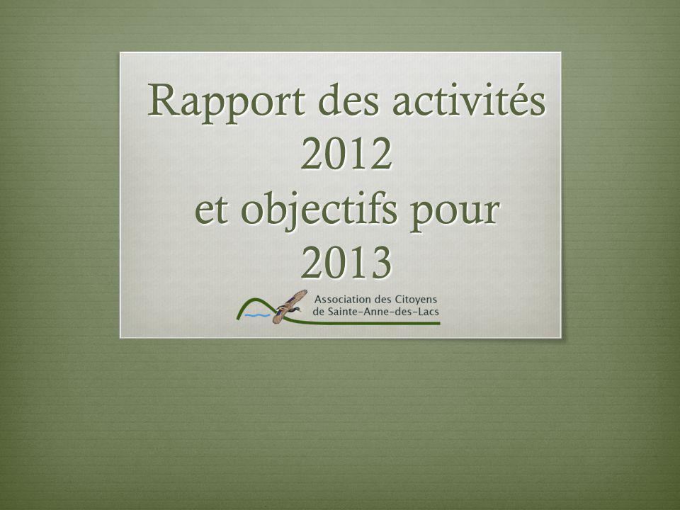 Rapport des activités 2012 et objectifs pour 2013