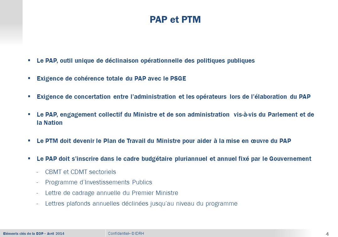 Eléments clés de la BOP – Avril 2014 Confidentiel– © IDRH PAP et PTM 4  Le PAP, outil unique de déclinaison opérationnelle des politiques publiques  Exigence de cohérence totale du PAP avec le PSGE  Exigence de concertation entre l'administration et les opérateurs lors de l'élaboration du PAP  Le PAP, engagement collectif du Ministre et de son administration vis-à-vis du Parlement et de la Nation  Le PTM doit devenir le Plan de Travail du Ministre pour aider à la mise en œuvre du PAP  Le PAP doit s'inscrire dans le cadre budgétaire pluriannuel et annuel fixé par le Gouvernement -CBMT et CDMT sectoriels -Programme d'Investissements Publics -Lettre de cadrage annuelle du Premier Ministre -Lettres plafonds annuelles déclinées jusqu'au niveau du programme 4