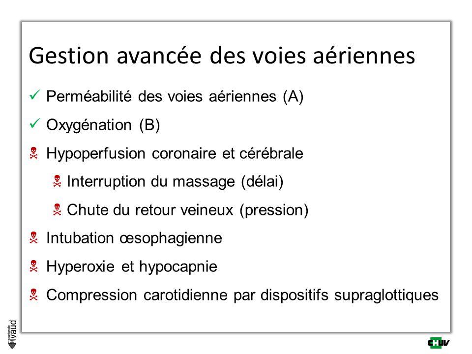 Perméabilité des voies aériennes (A) Oxygénation (B)  Hypoperfusion coronaire et cérébrale  Interruption du massage (délai)  Chute du retour veineux (pression)  Intubation œsophagienne  Hyperoxie et hypocapnie  Compression carotidienne par dispositifs supraglottiques Gestion avancée des voies aériennes