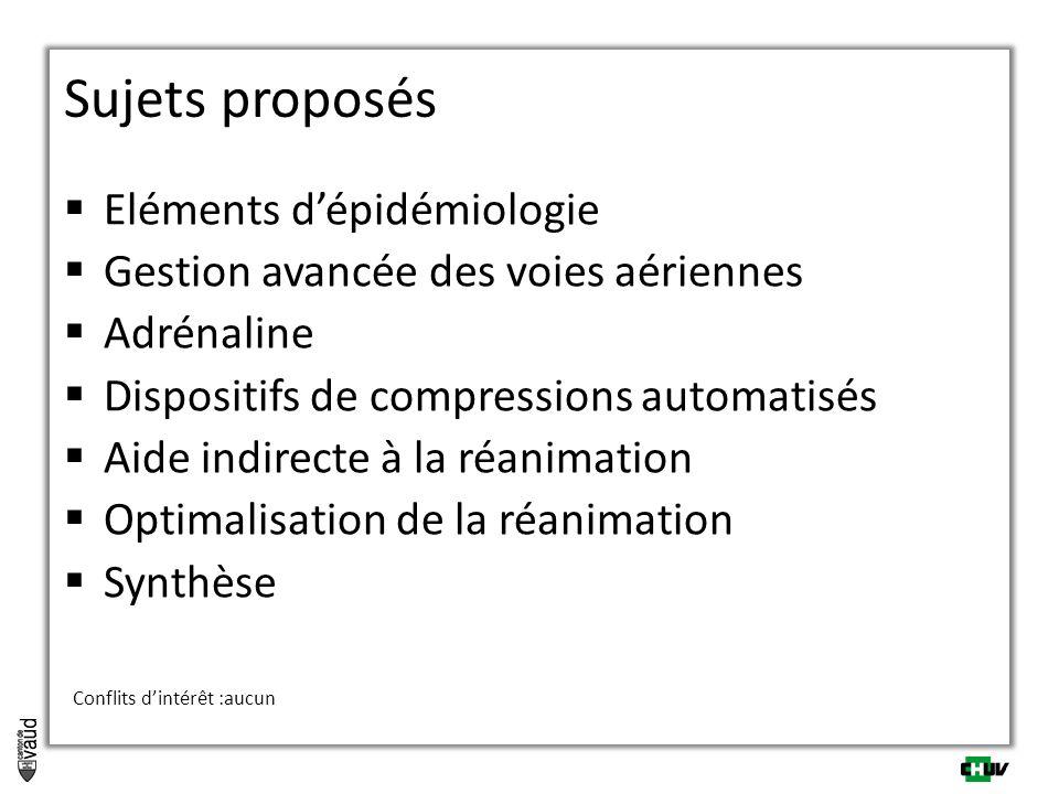  Eléments d'épidémiologie  Gestion avancée des voies aériennes  Adrénaline  Dispositifs de compressions automatisés  Aide indirecte à la réanimation  Optimalisation de la réanimation  Synthèse Conflits d'intérêt :aucun Sujets proposés