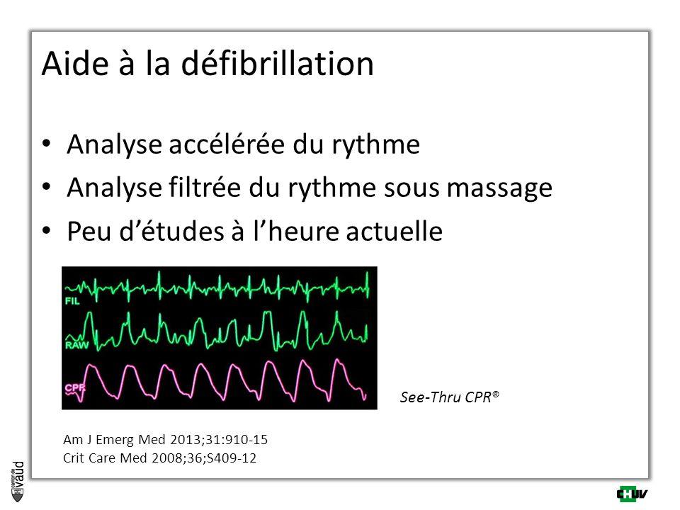 Analyse accélérée du rythme Analyse filtrée du rythme sous massage Peu d'études à l'heure actuelle Aide à la défibrillation See-Thru CPR® Am J Emerg M