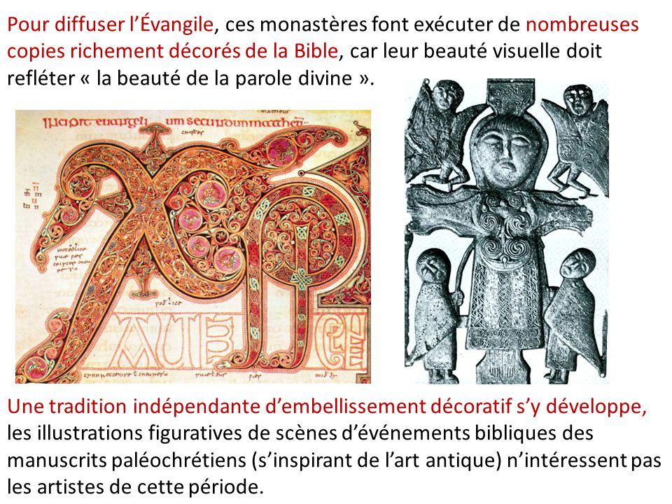 Pour diffuser l'Évangile, ces monastères font exécuter de nombreuses copies richement décorés de la Bible, car leur beauté visuelle doit refléter « la beauté de la parole divine ».