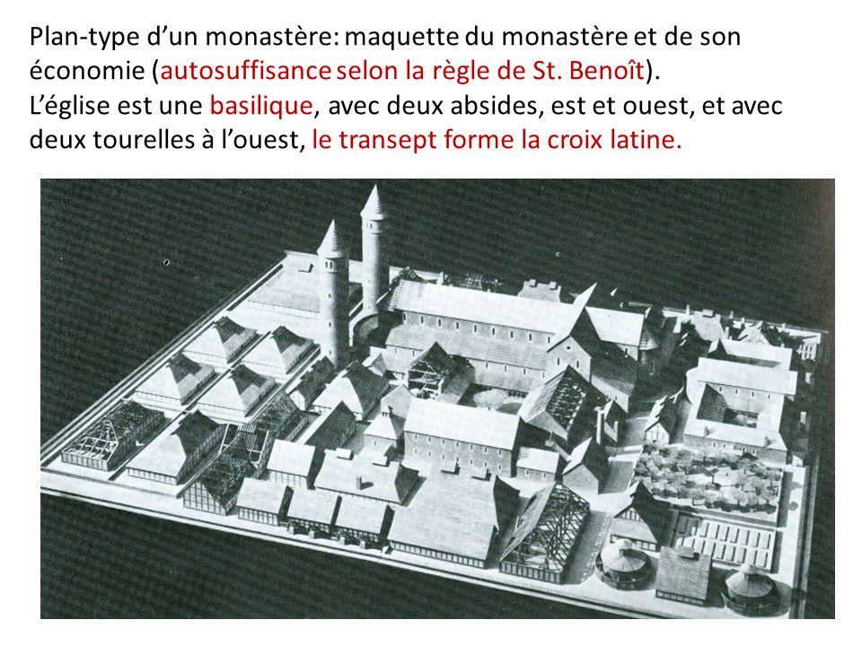 Plan-type d'un monastère: maquette du monastère et de son économie (autosuffisance selon la règle de St. Benoît). L'église est une basilique, avec deu
