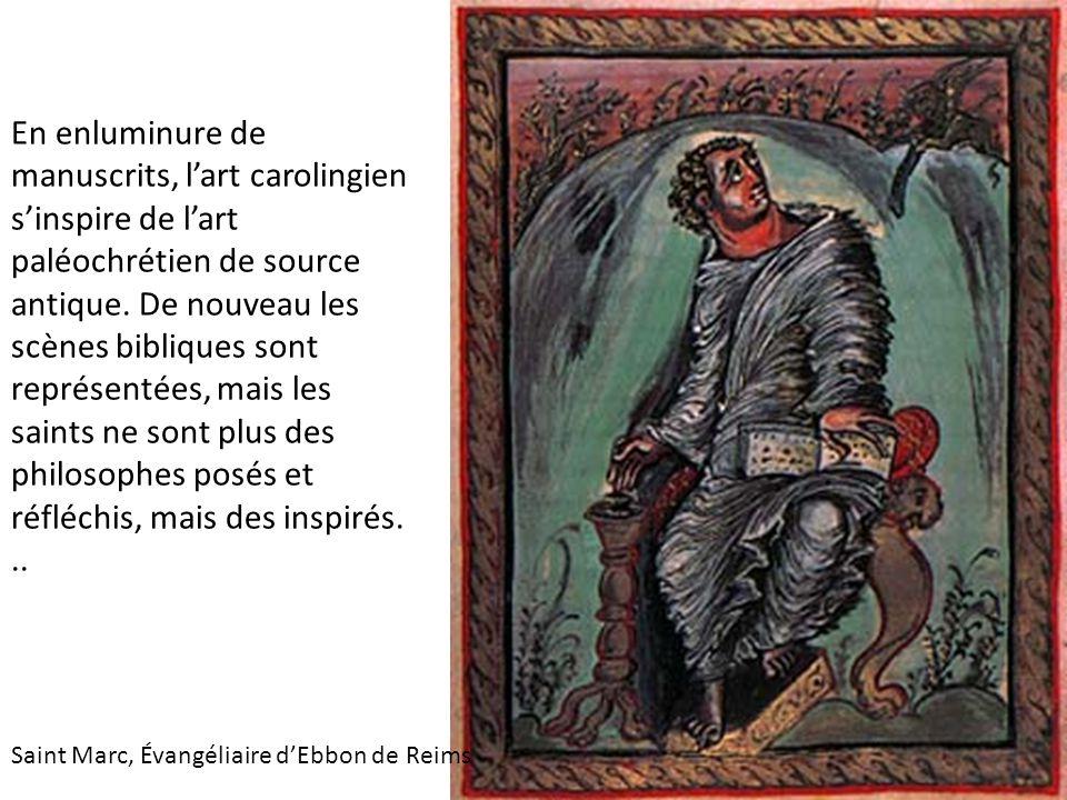 En enluminure de manuscrits, l'art carolingien s'inspire de l'art paléochrétien de source antique.