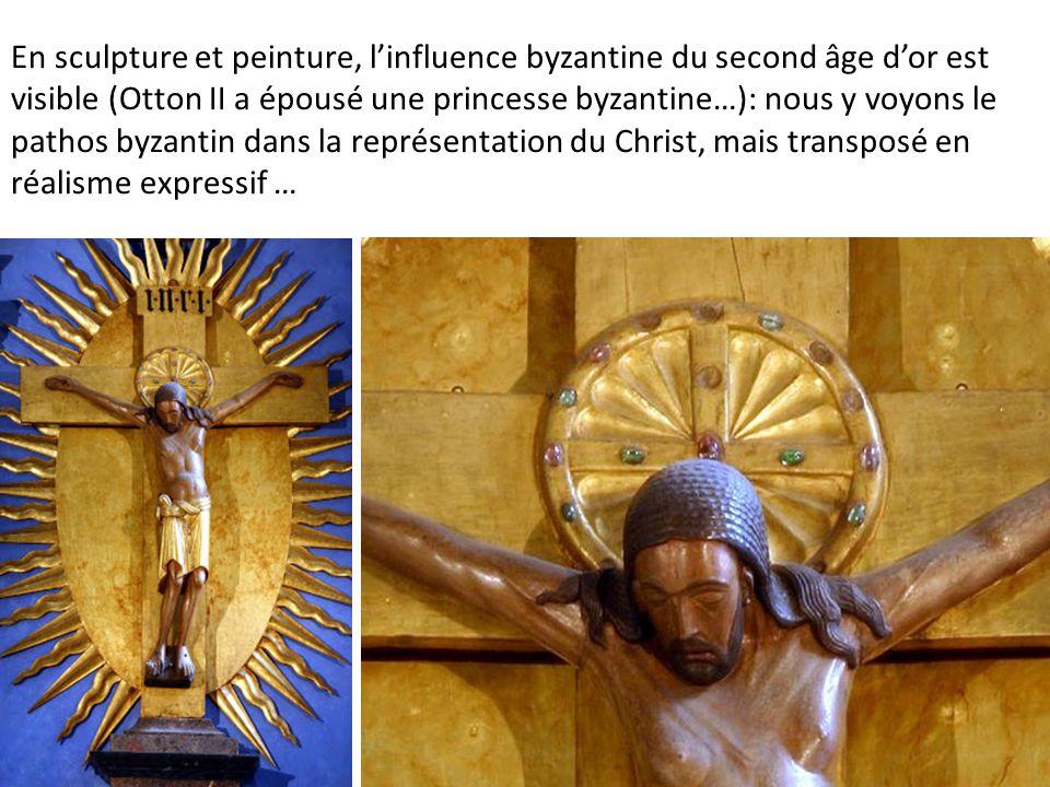 En sculpture et peinture, l'influence byzantine du second âge d'or est visible (Otton II a épousé une princesse byzantine…): nous y voyons le pathos b