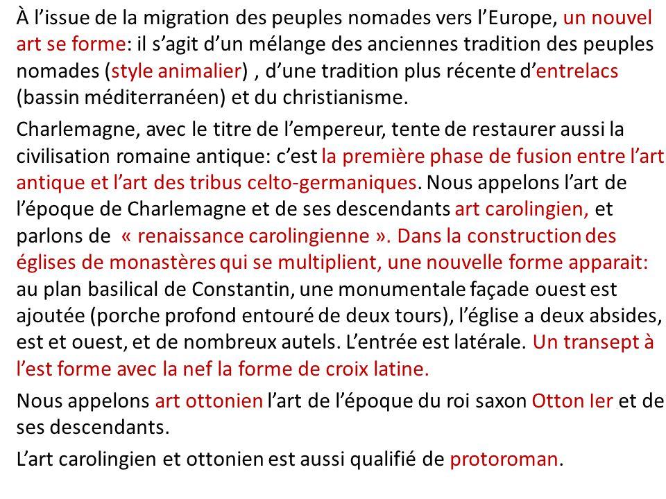 À l'issue de la migration des peuples nomades vers l'Europe, un nouvel art se forme: il s'agit d'un mélange des anciennes tradition des peuples nomades (style animalier), d'une tradition plus récente d'entrelacs (bassin méditerranéen) et du christianisme.