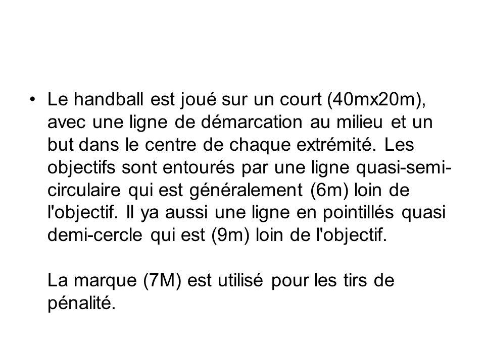 Le handball est joué sur un court (40mx20m), avec une ligne de démarcation au milieu et un but dans le centre de chaque extrémité. Les objectifs sont