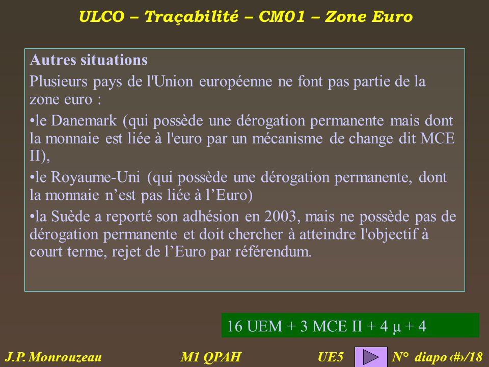 ULCO – Traçabilité – CM01 – Zone Euro M1 QPAH N° diapo 10/18 J.P.
