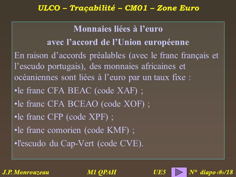 ULCO – Traçabilité – CM01 – Zone Euro M1 QPAH N° diapo 11/18 J.P.