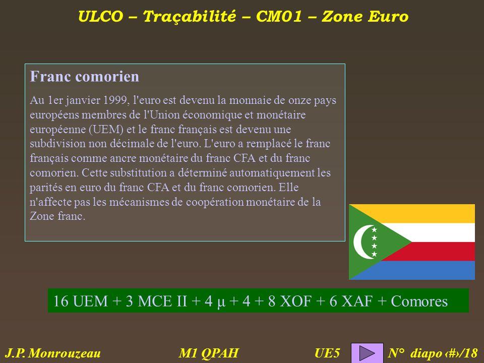 ULCO – Traçabilité – CM01 – Zone Euro M1 QPAH N° diapo 15/18 J.P.