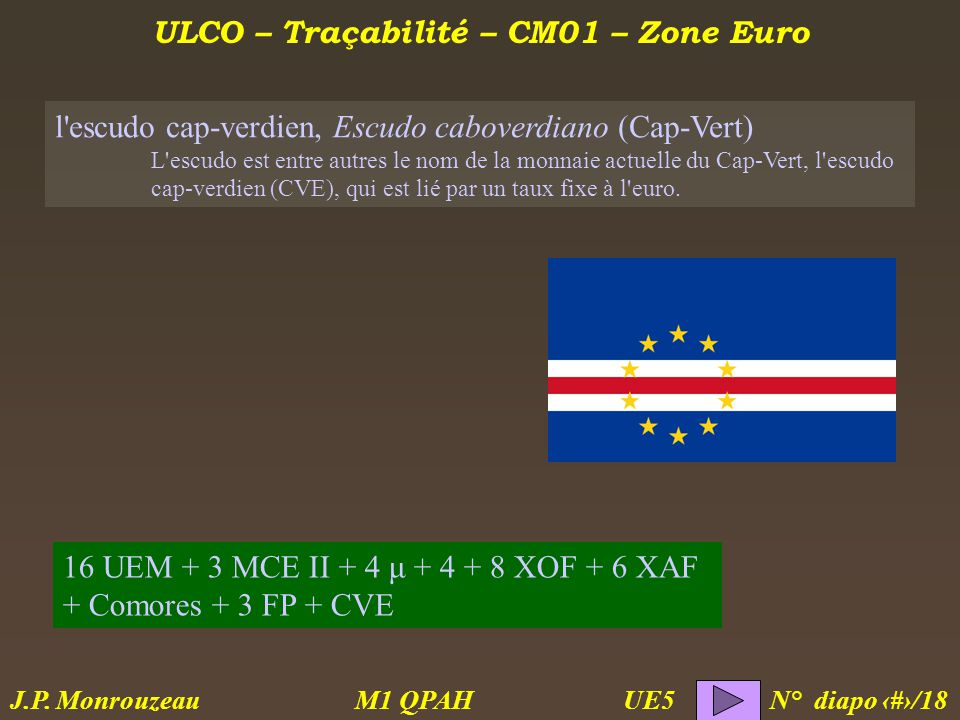 ULCO – Traçabilité – CM01 – Zone Euro M1 QPAH N° diapo 17/18 J.P.