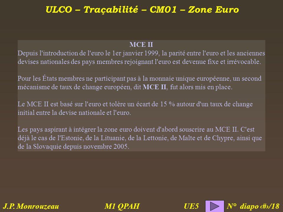 ULCO – Traçabilité – CM01 – Zone Euro M1 QPAH N° diapo 6/18 J.P.