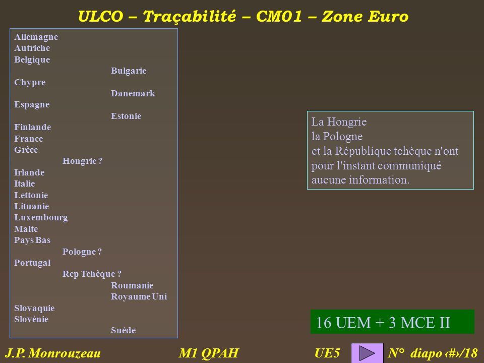 ULCO – Traçabilité – CM01 – Zone Euro M1 QPAH N° diapo 7/18 J.P.