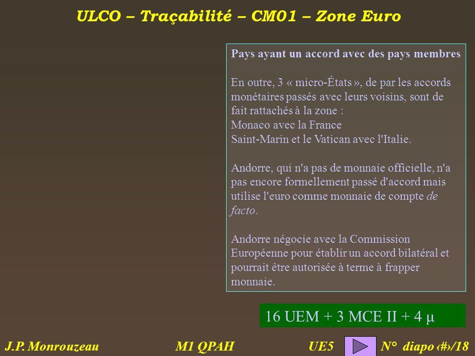 ULCO – Traçabilité – CM01 – Zone Euro M1 QPAH N° diapo 8/18 J.P.