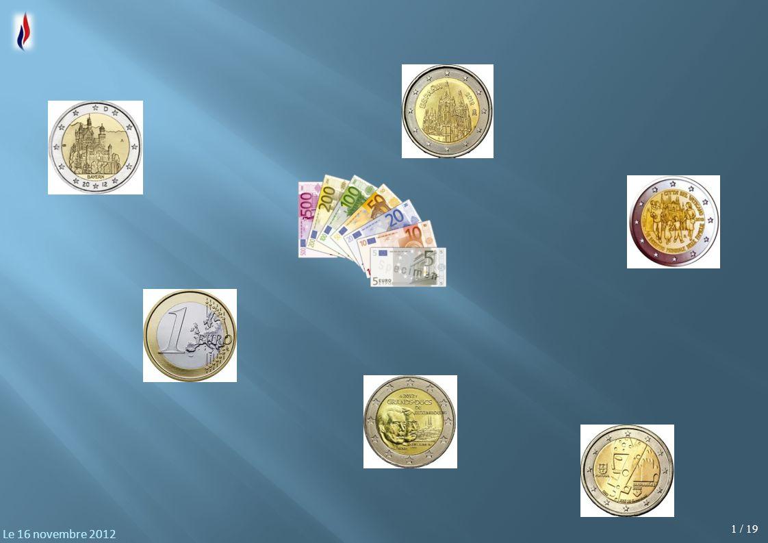 2 / 19 Le 16 novembre 2012 Première réunion thématique organisée pour nos militants avec comme sujet : Pourquoi le FN propose : «l'arrêt de l'expérience malheureuse de l'euro, et le retour bénéfique aux monnaies nationales qui permettra une dévaluation compétitive pour oxygéner notre économie et retrouver la voie de la prospérité.» Nous allons tenter de vous en donner les raisons objectives
