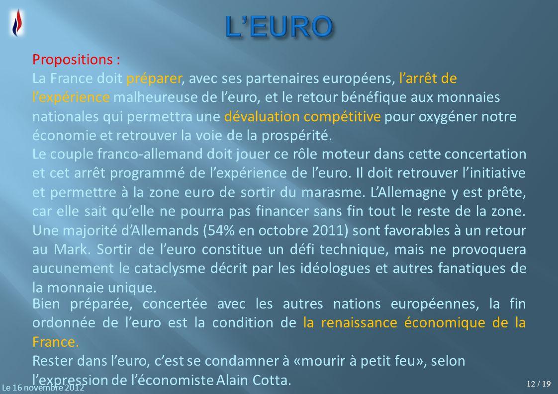12 / 19 Le 16 novembre 2012 La France doit préparer, avec ses partenaires européens, l'arrêt de l'expérience malheureuse de l'euro, et le retour bénéfique aux monnaies nationales qui permettra une dévaluation compétitive pour oxygéner notre économie et retrouver la voie de la prospérité.