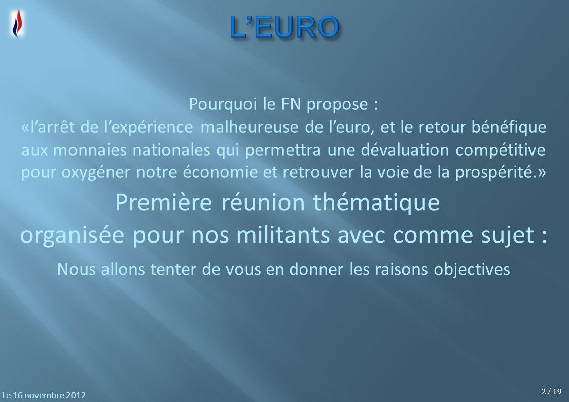13 / 19 Le 16 novembre 2012 franc Le franc est une unité monétaire utilisée par plusieurs pays.