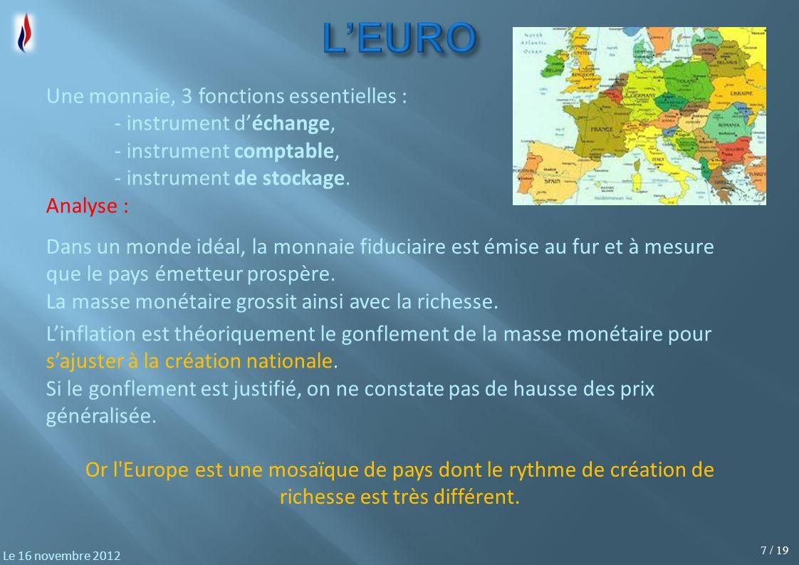 18 / 19 Le 16 novembre 2012 Le programme des Verts (EELV) NATIONALISATIONS : NATIONALISATIONS : Prise de contrôle par l État d une majorité du capital des banques.