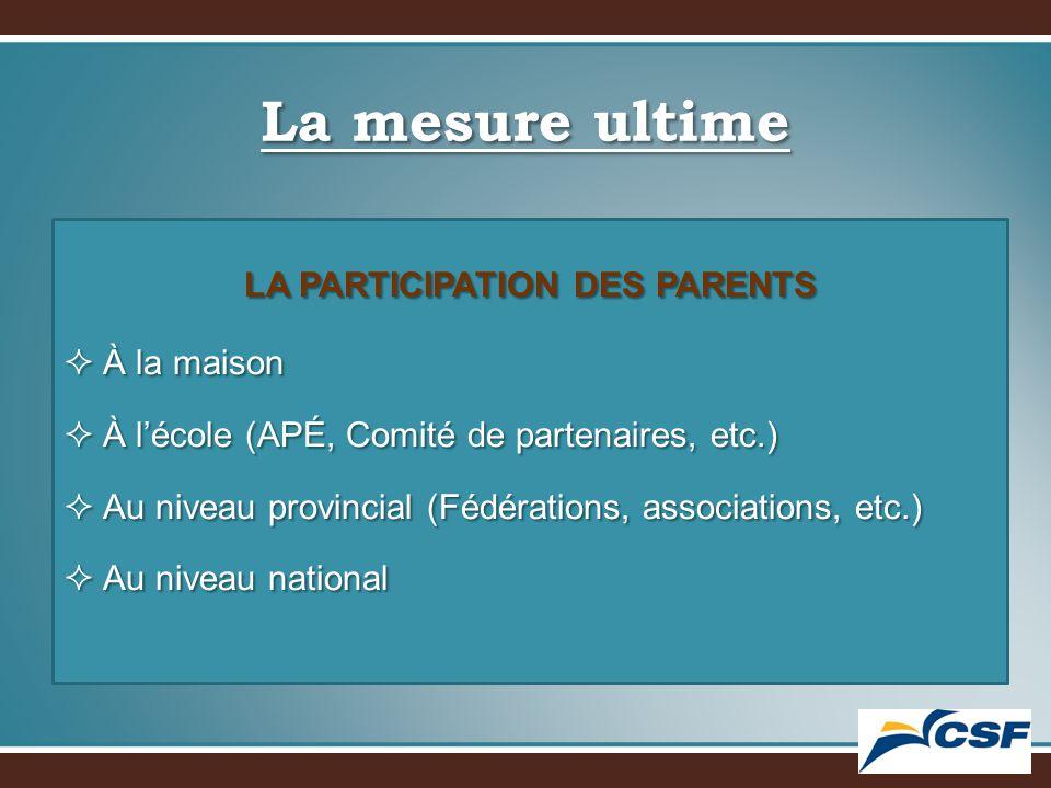 La mesure ultime LA PARTICIPATION DES PARENTS  À la maison  À l'école (APÉ, Comité de partenaires, etc.)  Au niveau provincial (Fédérations, associations, etc.)  Au niveau national