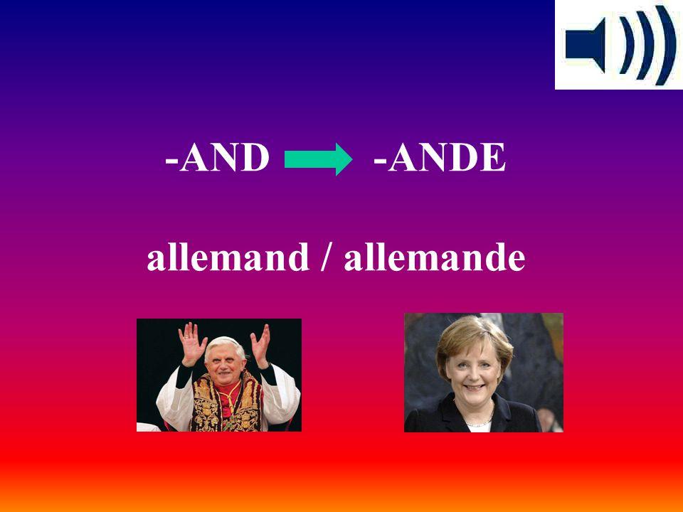 -AND -ANDE allemand / allemande