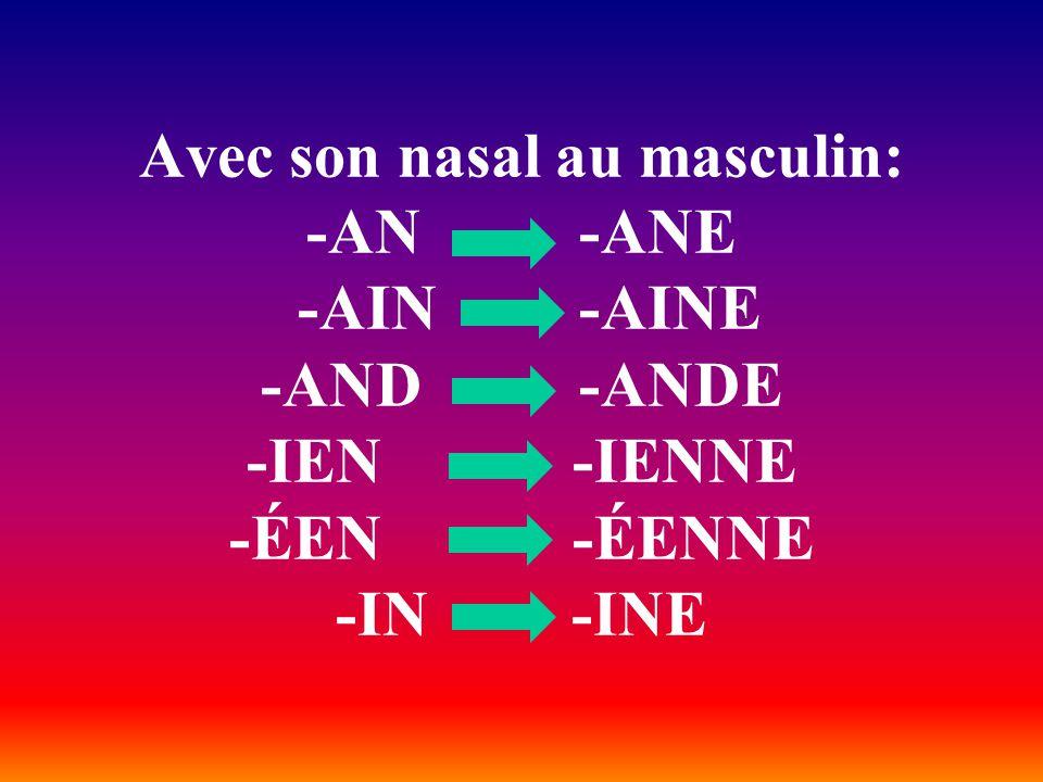Avec son nasal au masculin: -AN -ANE -AIN -AINE -AND -ANDE -IEN -IENNE -ÉEN -ÉENNE -IN -INE