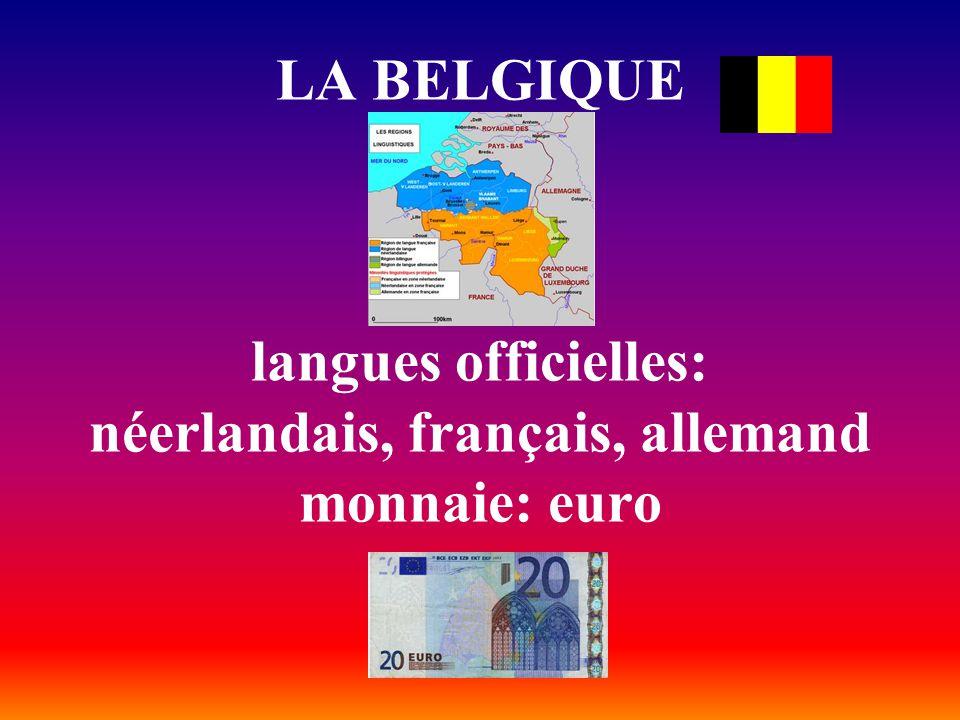 LA BELGIQUE langues officielles: néerlandais, français, allemand monnaie: euro