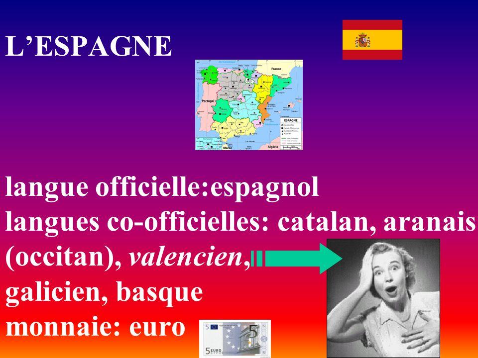 L'ESPAGNE langue officielle:espagnol langues co-officielles: catalan, aranais (occitan), valencien, galicien, basque monnaie: euro