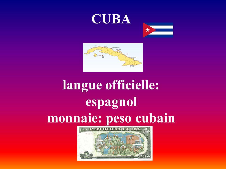 CUBA langue officielle: espagnol monnaie: peso cubain