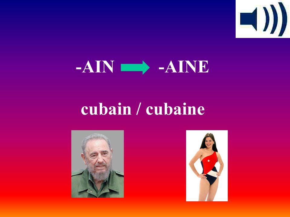 -AIN -AINE cubain / cubaine