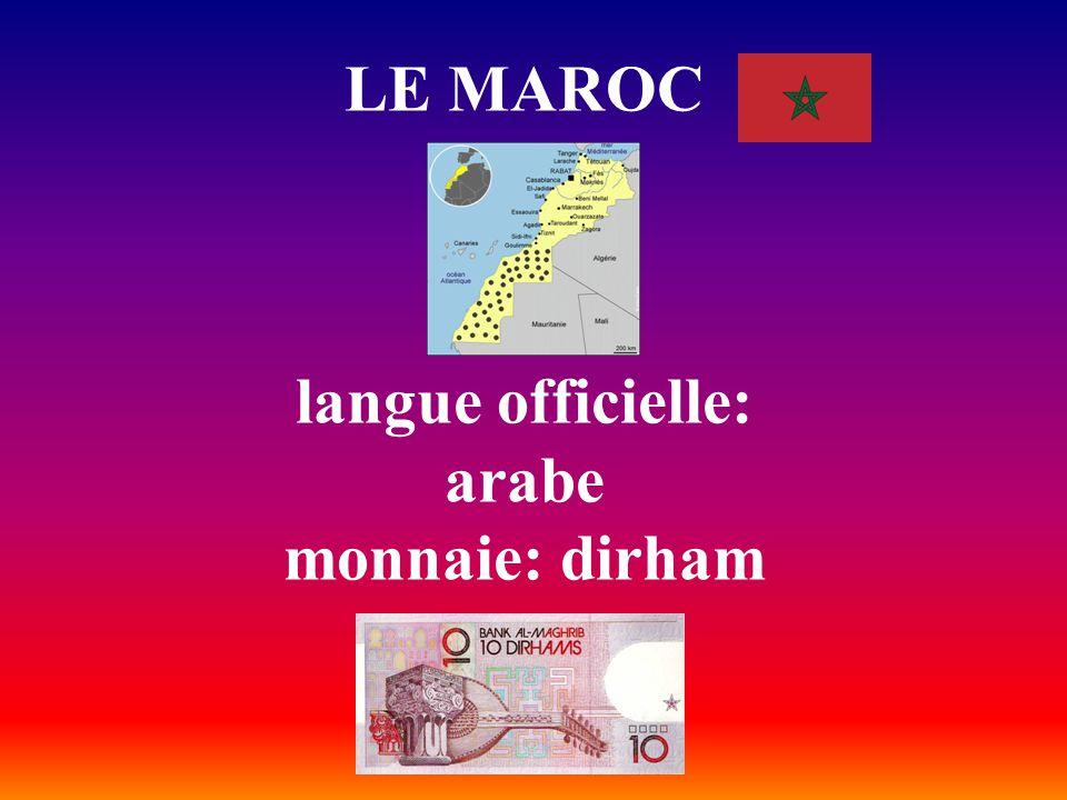 LE MAROC langue officielle: arabe monnaie: dirham