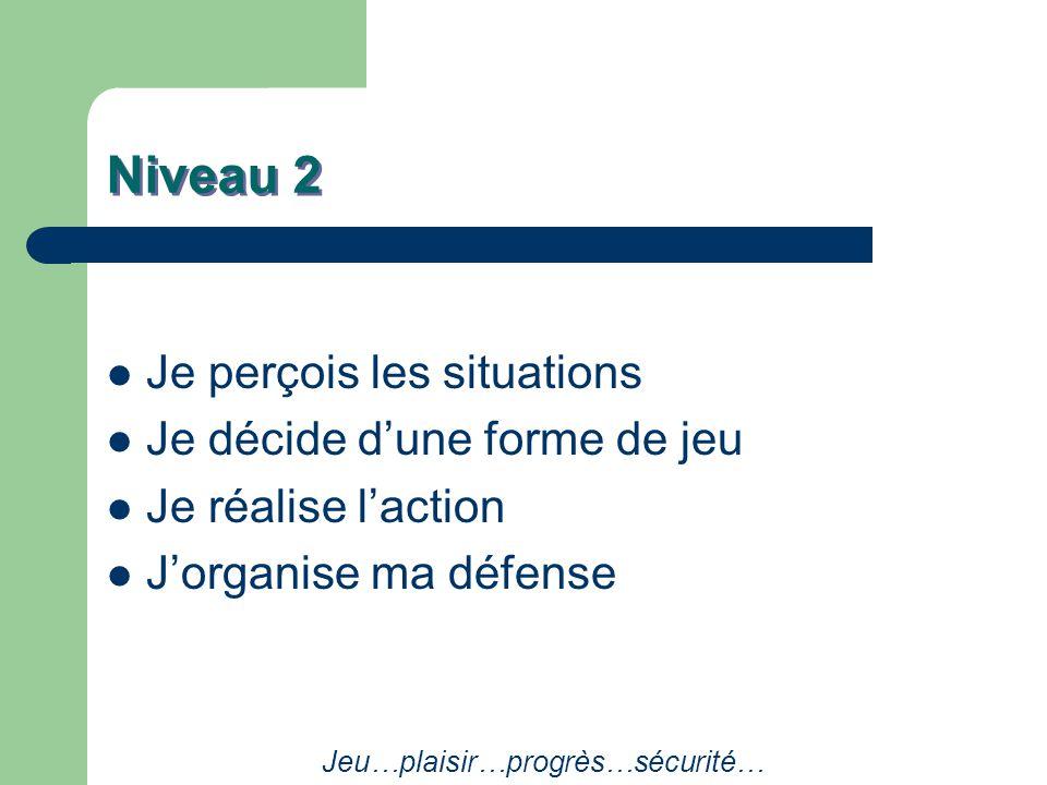 Niveau 2 Je perçois les situations Je décide d'une forme de jeu Je réalise l'action J'organise ma défense Jeu…plaisir…progrès…sécurité…